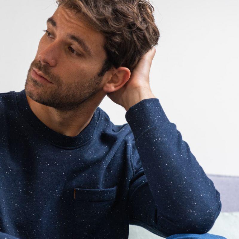 Organic cotton sweatshirt – Speckled blue – 400 gr