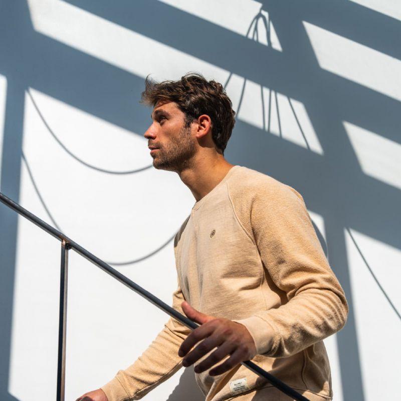 Organic cotton sweatshirt – mottled beige – 400 gr
