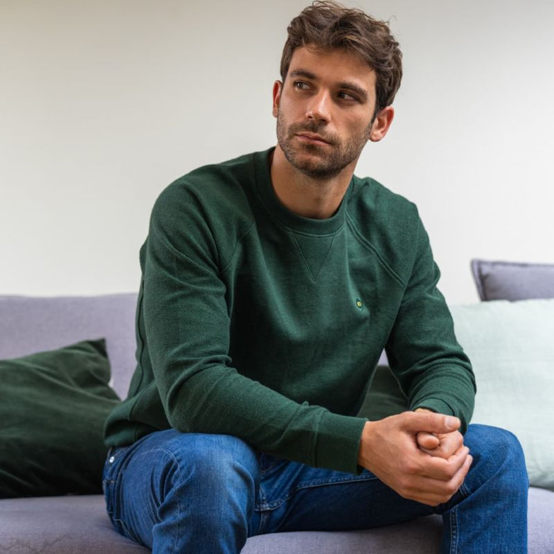 Organic cotton sweatshirt – mottled green – 400 gr