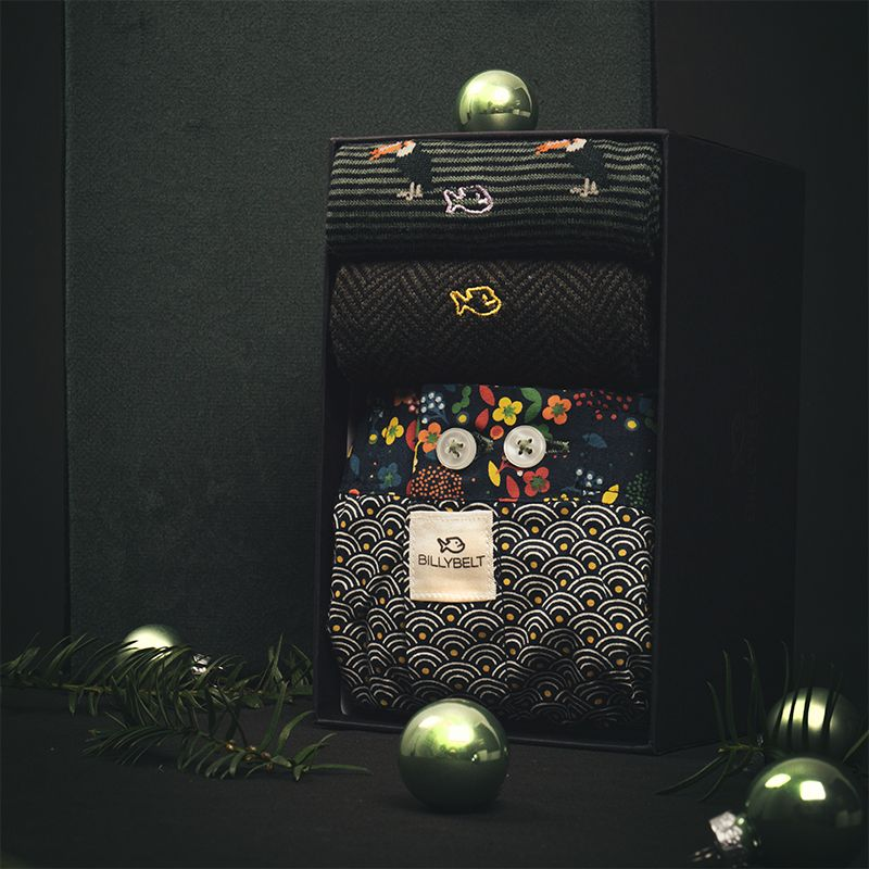 Two pairs of socks one boxer shorts gift box