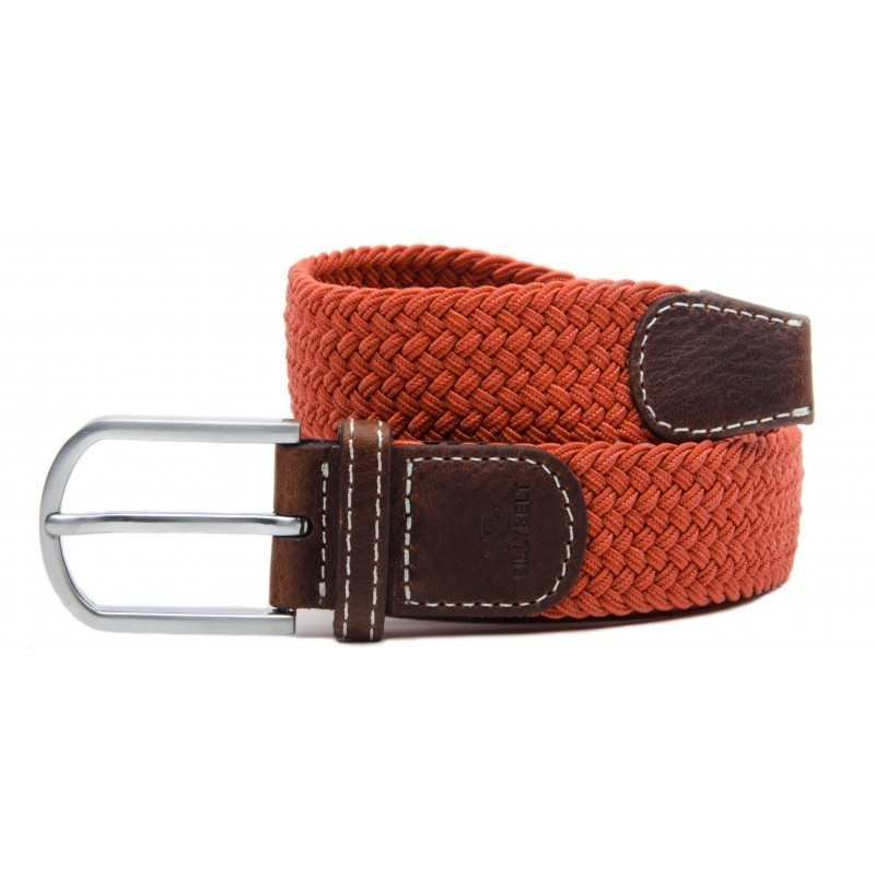 Brick Red braided belt for men