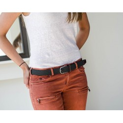 Flannel Grey braided belt women