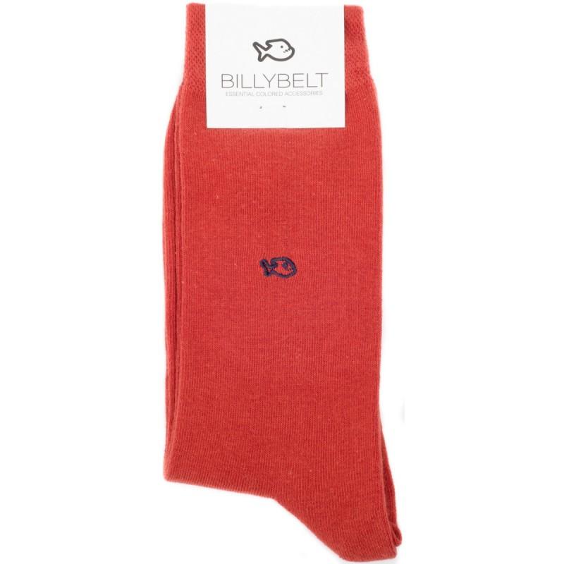 Chaussettes coton rouge brique homme