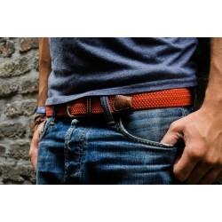 Elastic woven belt  Brick Red