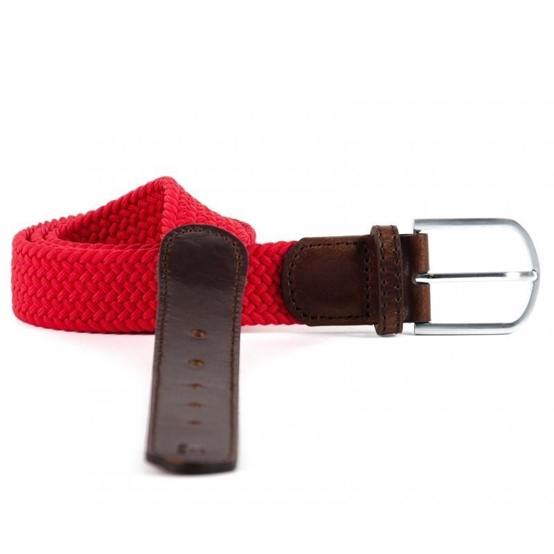 ceinture tressée cuir Rouge Grenade homme