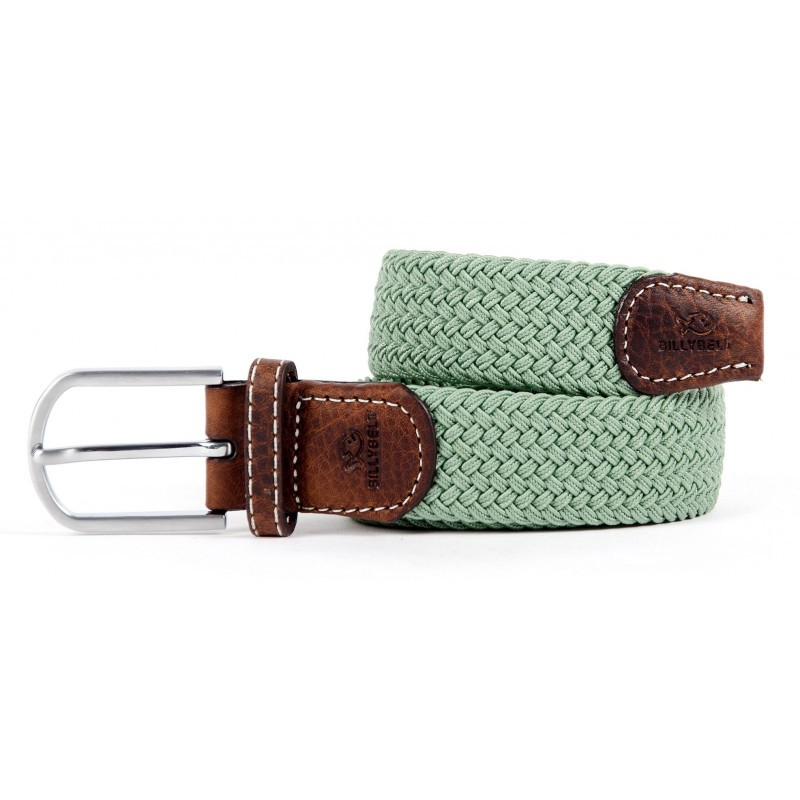 Almond green braided belt for men