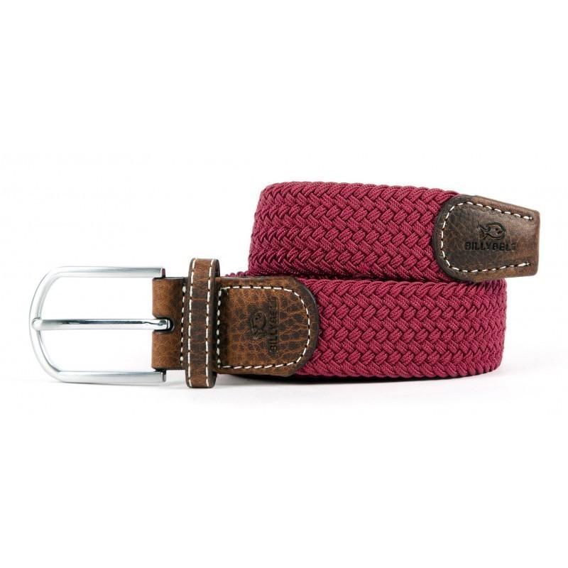 Burgundy braided belt for men