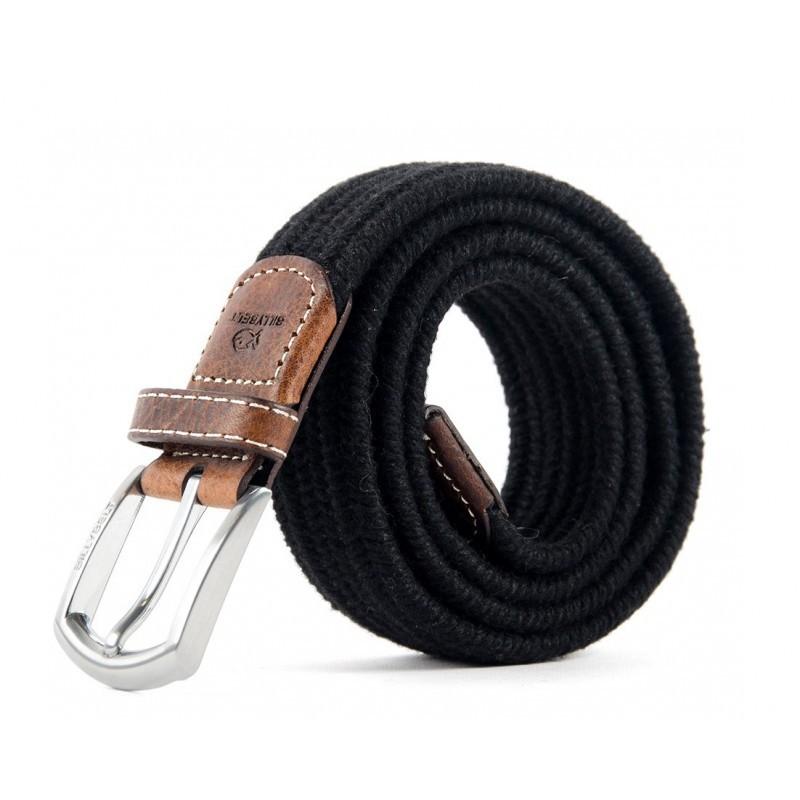 ceinture lastique tress e laine noir homme taille taille 1. Black Bedroom Furniture Sets. Home Design Ideas