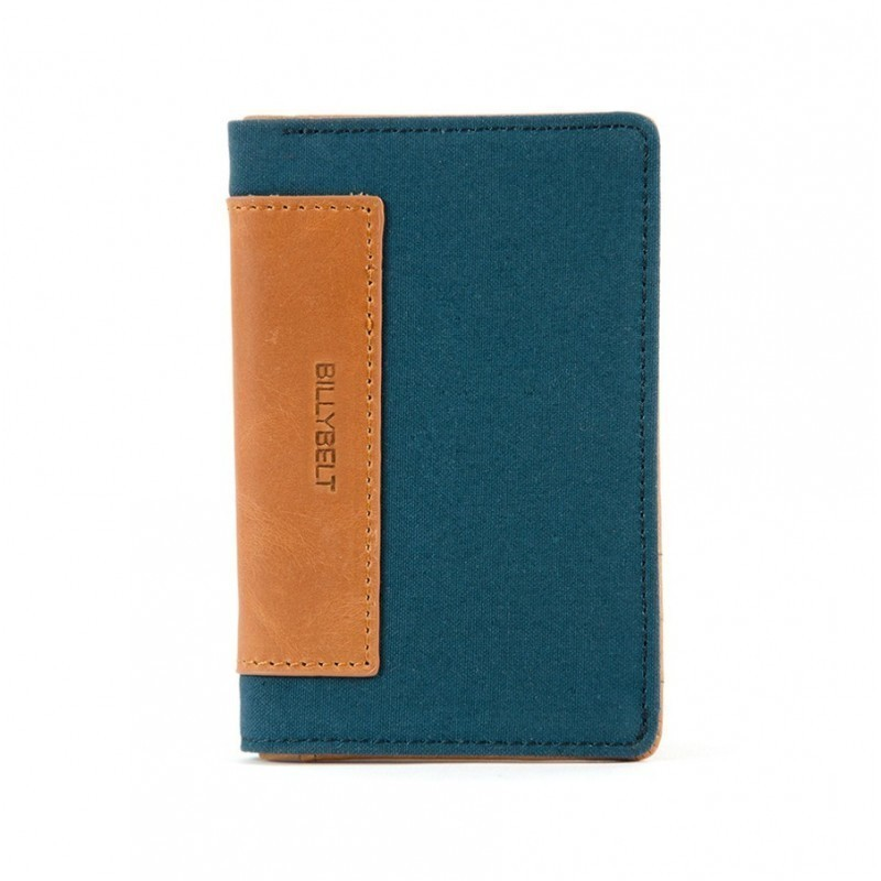 card holder leather and blue duck cotton
