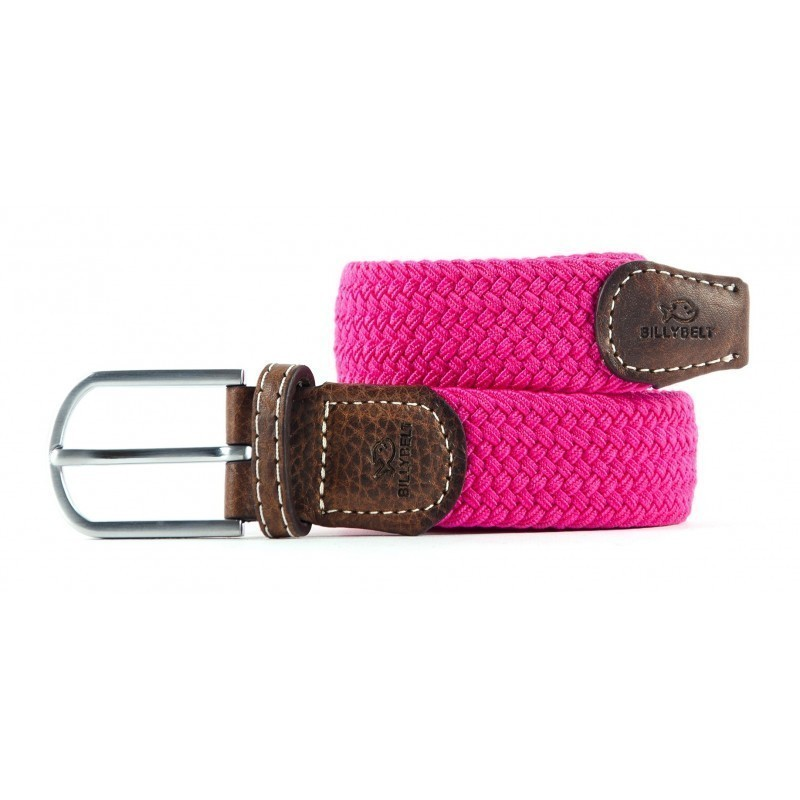Fushia Pink braided belt for men