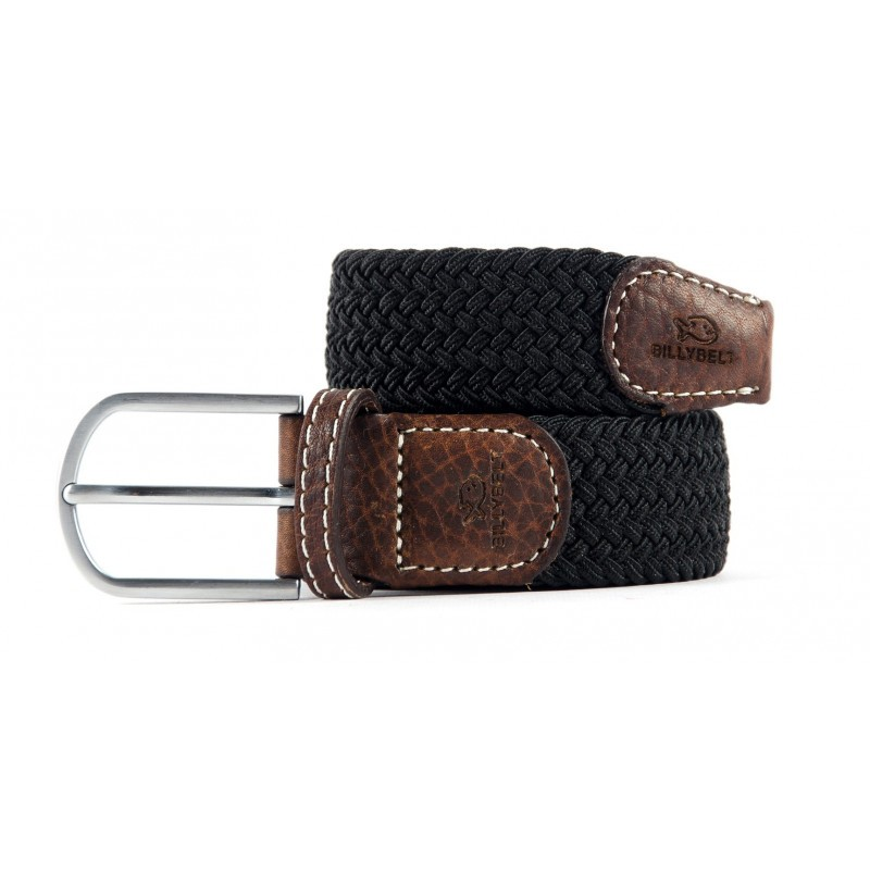 Black Licorice braided belt for men