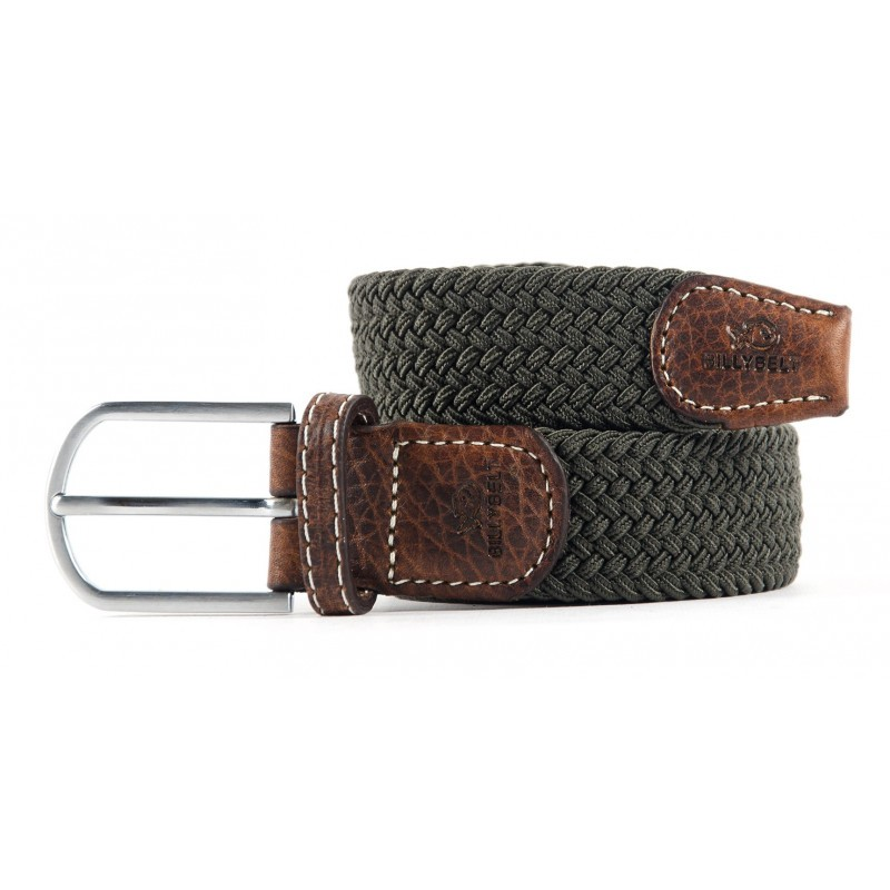 Khaki Green braided belt for men
