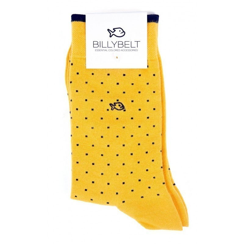 Men Socks Yellow Square
