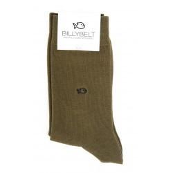 Chaussettes vert kaki remaillées main