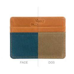 Porte-cartes Slim bi-colore Beige Bleu canard homme