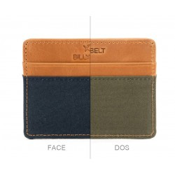 Bi color Navy / Khaki slim card holder