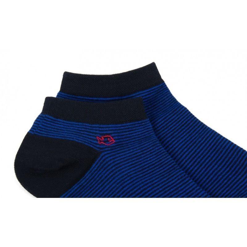 Socquettes coton  Rayée Bleu