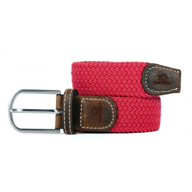 Burgundy braided belt for men