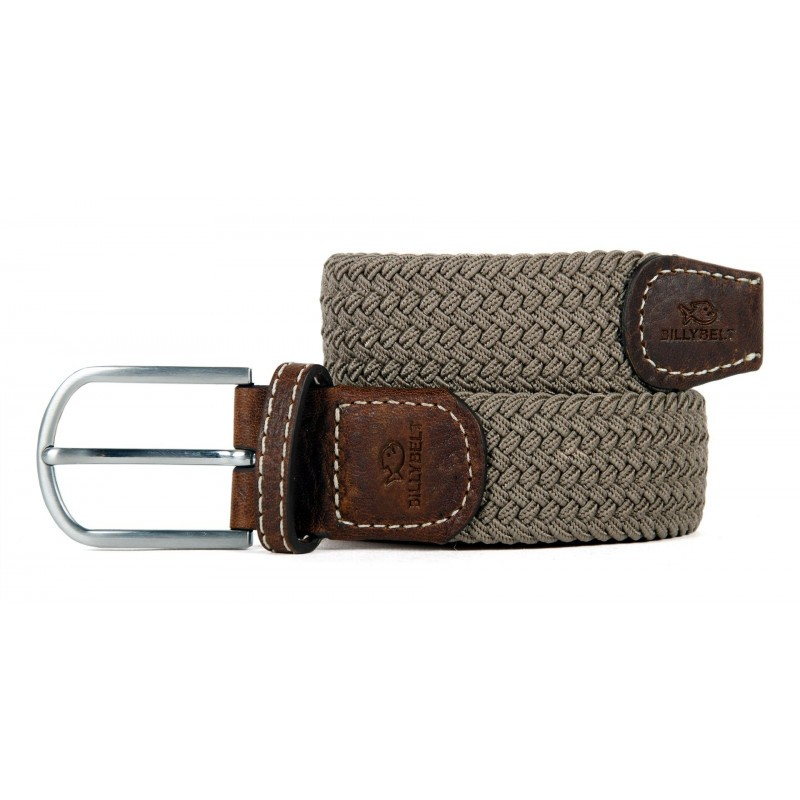Taupe Beige braided belt for men