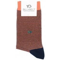 Chaussettes Rayées Corail remaillées main