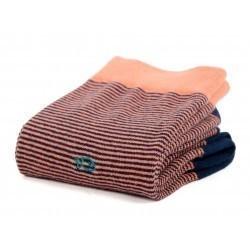 Chaussettes coton  Rayée Corail