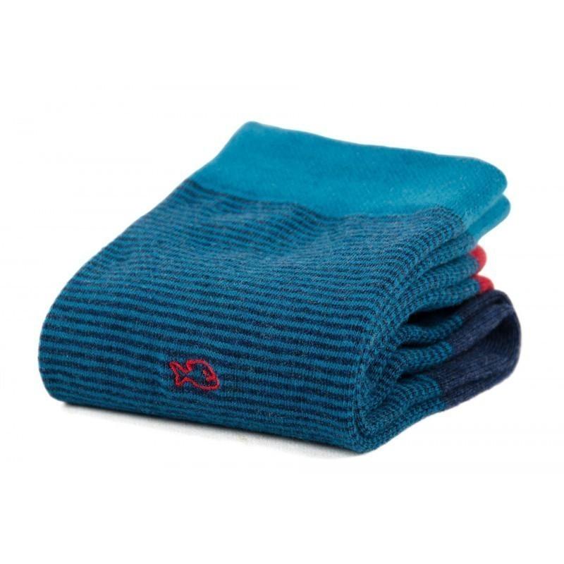 Chaussettes coton  Rayée Bleu
