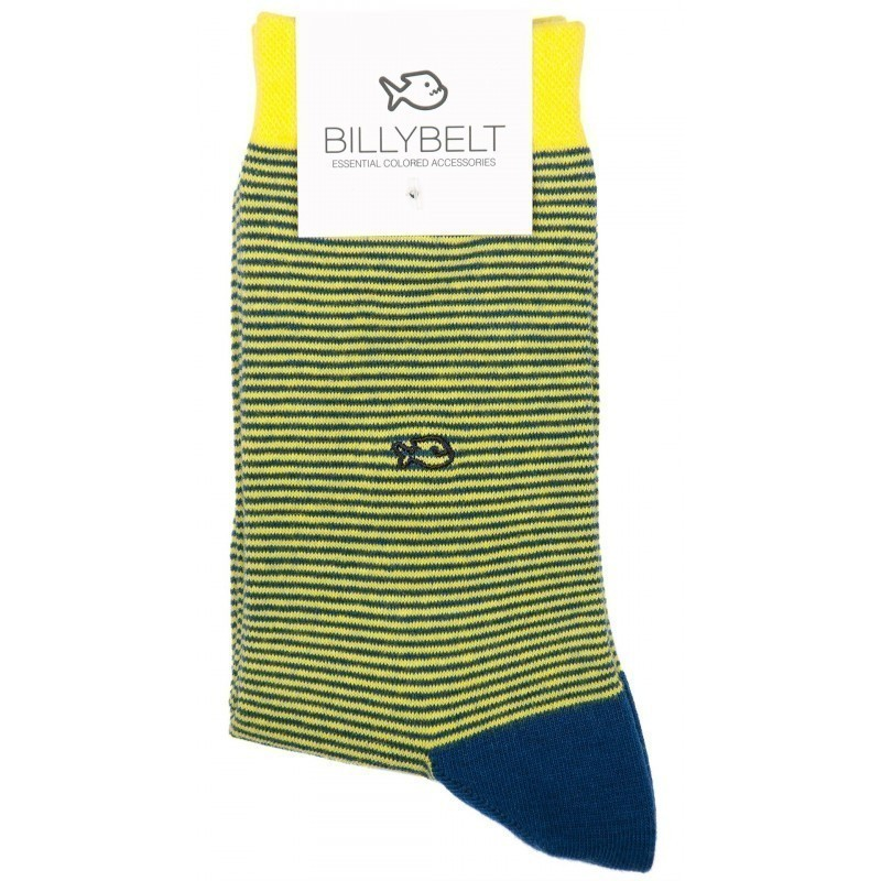 Men Socks Yellow Stripe