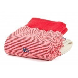 Chaussettes coton  Rayée Rouge
