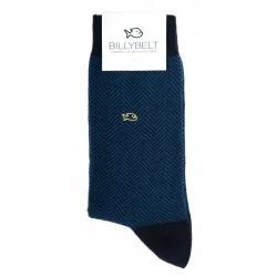 Chaussettes coton  Chevrons Bleu Canard