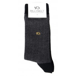 Men Socks Grey Herringbone