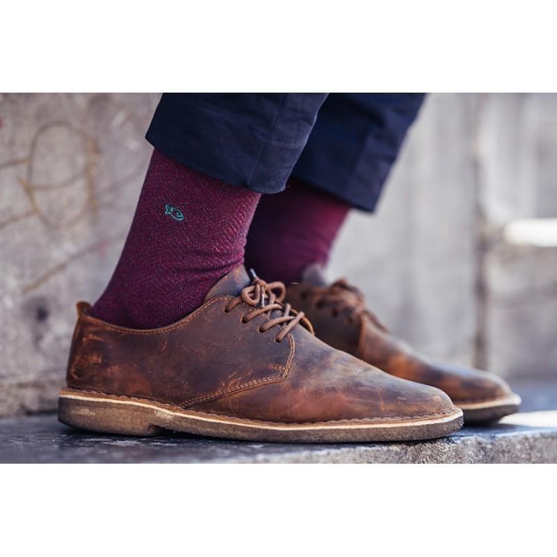 Cotton socks  Burgundy Herringbone