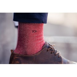 Men Socks Red Herringbone