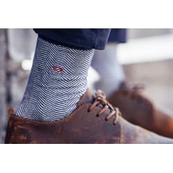 Cotton socks  Navy Herringbone