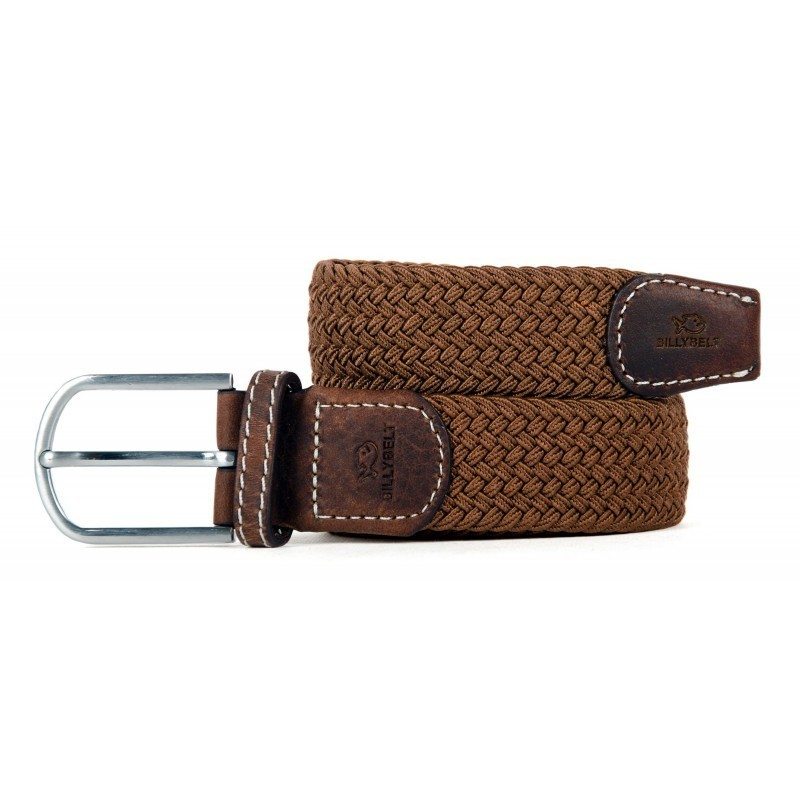 Brown camel braided belt for men