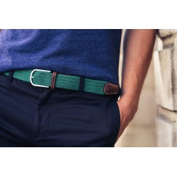 UK green braided belt for men
