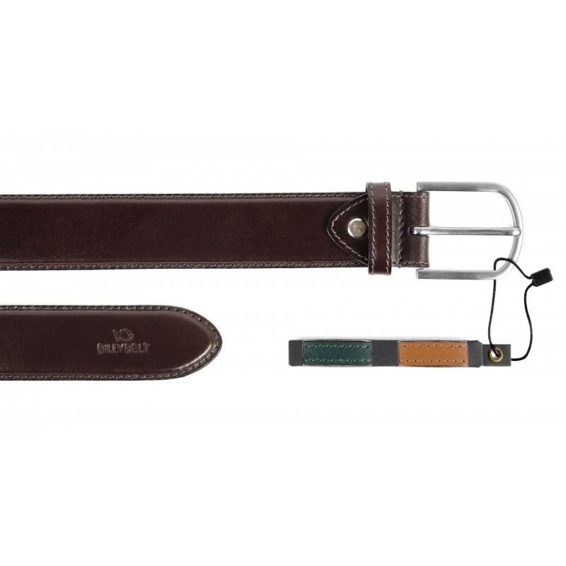 Brown leather belt with interchangeable belts loops