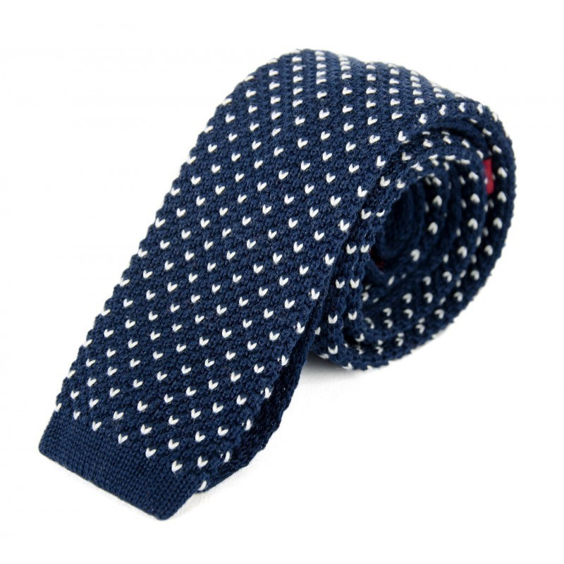 Navy and white cotton knit tie