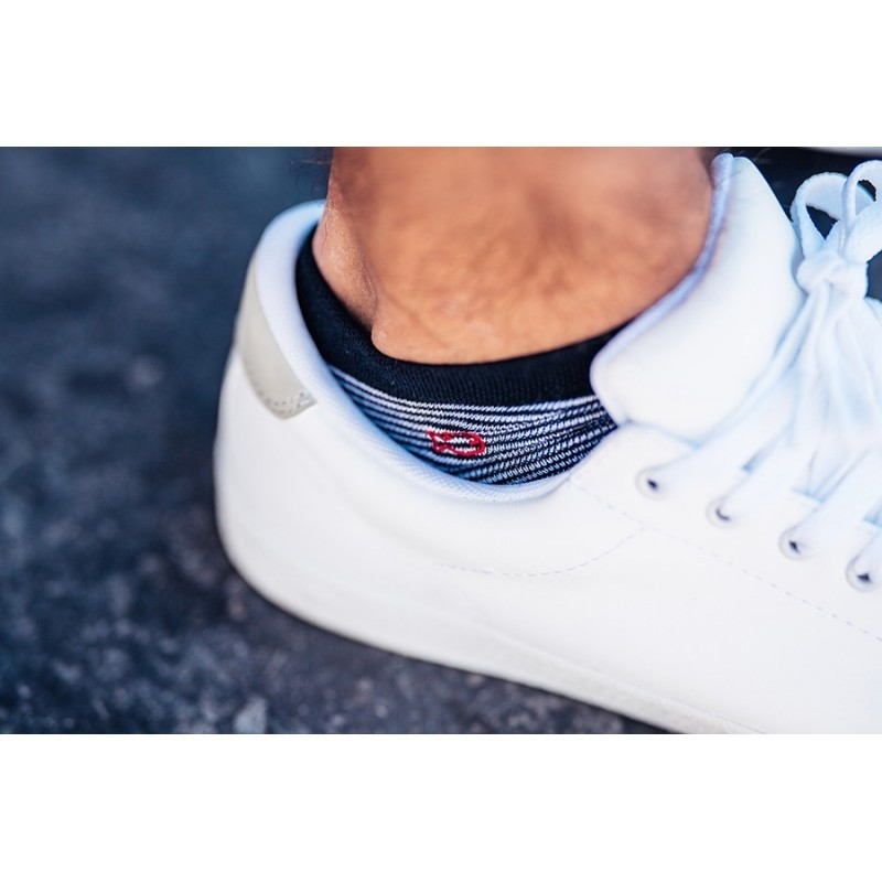 Cotton ankle socks  White Stripe