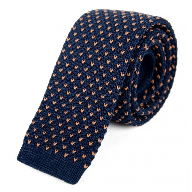 Navy and camel cotton knit tie