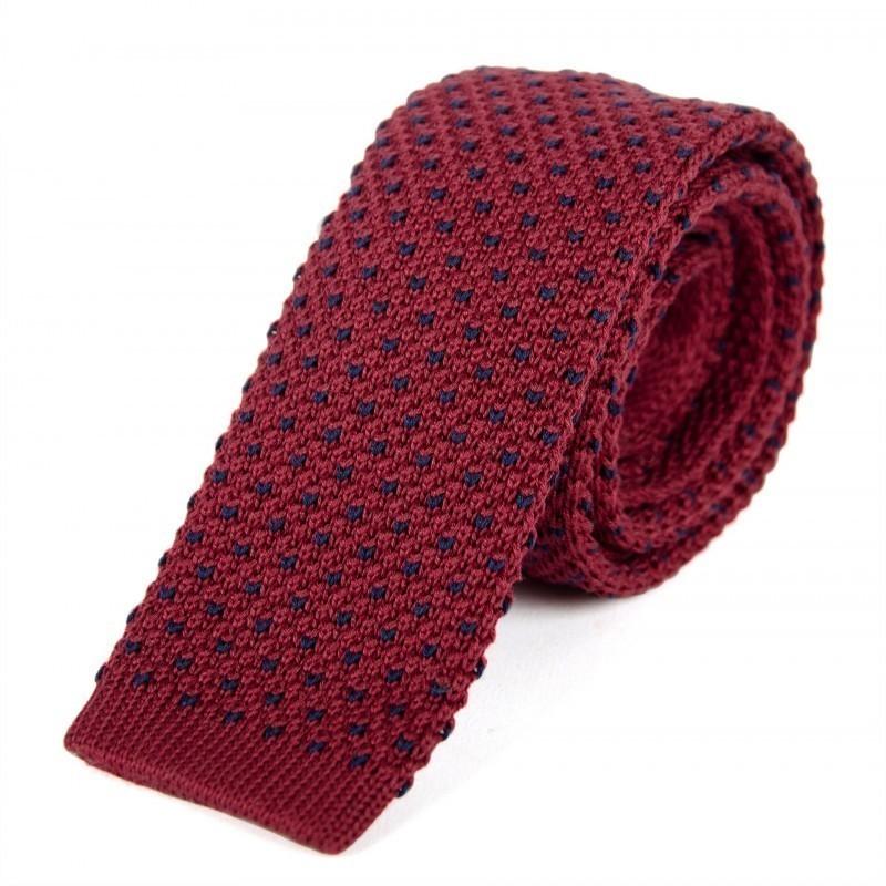 Burgundy and blue cotton knit tie