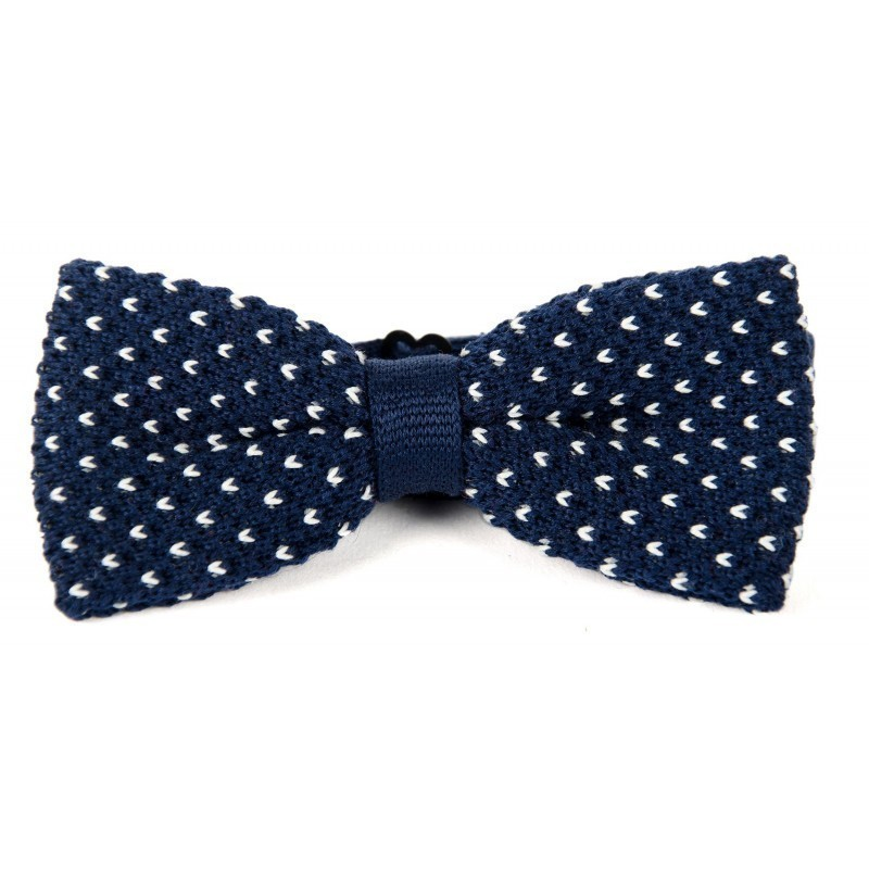 Navy and white cotton knit bow tie