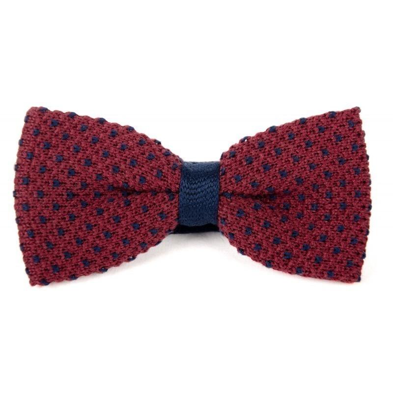 Noeud papillon tricot coton bordeaux et bleu