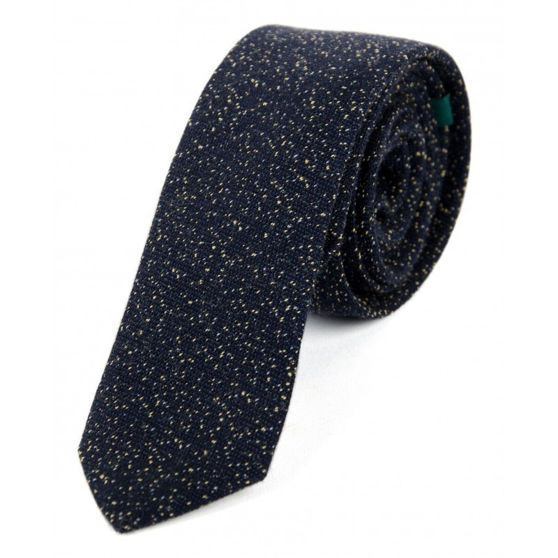 navy and yellow wool tie
