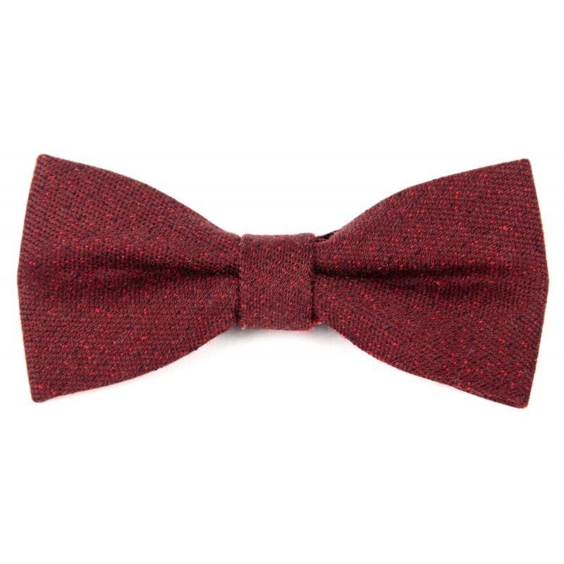 Noeud papillon laine bordeaux et rouge