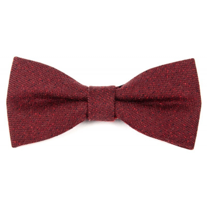 Burgundy and red wool bow tie