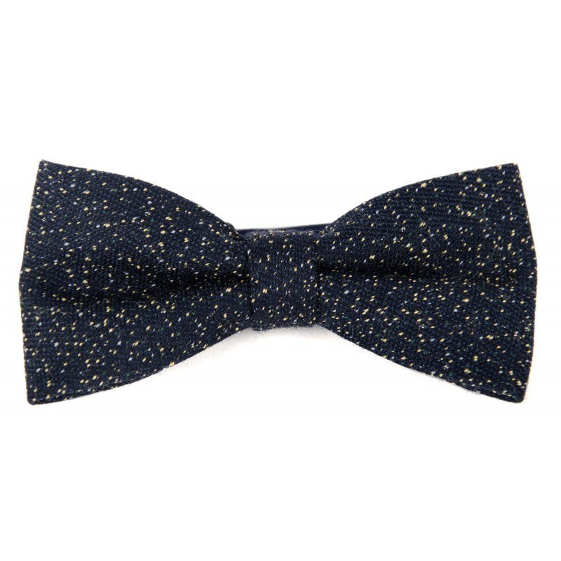 navy and yellow wool bow tie