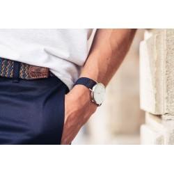 Bracelet de montre tressé   Bleu Marine