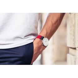 Bracelet de montre tressé   Rouge Grenade