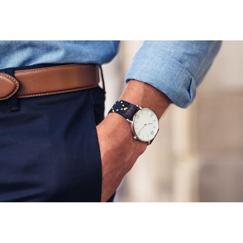 Bicolour Woven watch strap  Blue / Yellow