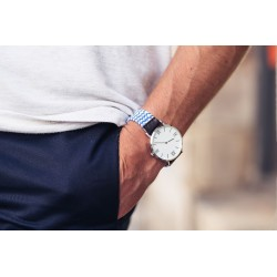 Bicolour Woven watch strap  Blue / White